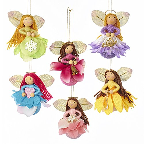 Kurt Adler Blooming Fairy Angel Ornament Set of 6, Multicolor – 3.75 Inches