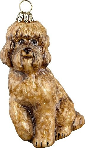 Brown Blonde Labradoodle Dog Polish Glass Christmas Ornament