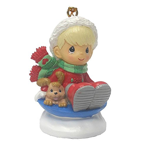 Precious Moments Christmas Holiday Tree Ornament – Little Boy in Red Suit Riding Sled with Little Brown Puppy