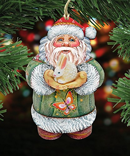 G.DeBrekht's Santa and Bunny Spring Love Wooden Ornament Set of 3 #8118085-S3
