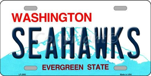 SEAHAWKS Washington Novelty State Background Vanity Metal License Plate Tag Sign