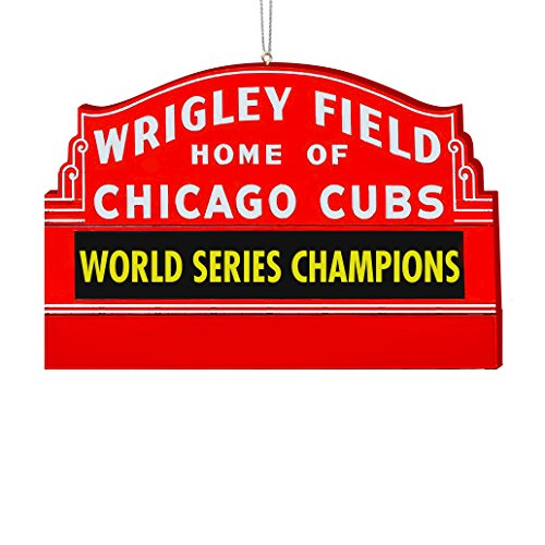 "Kurt Adler MAJOR LEAGUE BASEBALL ""WRIGLEY FIELD HOME OF CHICAGO CUBS WORLD SERIES CHAMPIONS"" SIGN ORNAMENT"