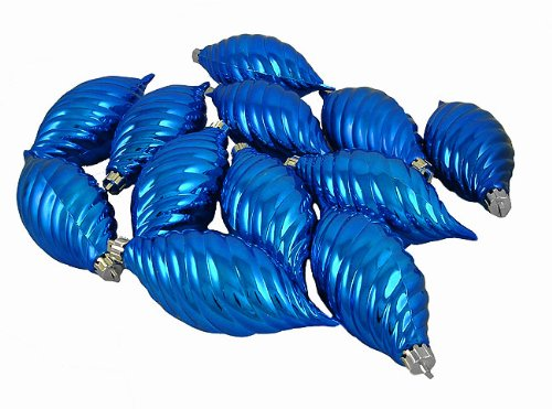 Vickerman Club Lavish Blue Shatterproof Finial Christmas Ornaments, 12 Pack, 4.75″