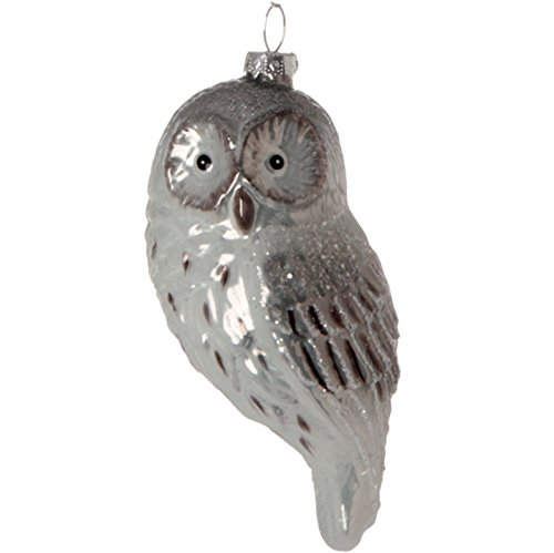 RAZ Imports – 5 Inch Silver and White Glass with Glitter Owl Christmas Tree Ornament – 3424707