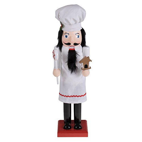 Baker Chef Nutcracker by Clever Creations | Baker Wearing White Apron with Red Trim and White Chefs Hat | Collectable Festive Christmas Decor | 100% Wood Perfect for Shelves and Tables | 15″ Tall