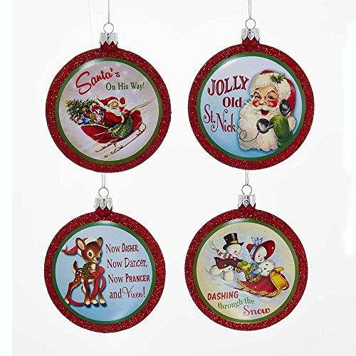 Kurt Adler YAMH9545 Retro Christmas Glitter Disc Ornament Set of 4