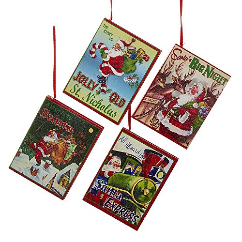 Kurt Adler YAMC5463 Book Ornament (Set of 4)