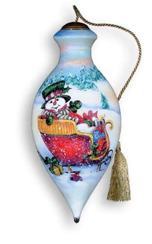 Ne'Qwa Art Snowman Sleigh – Glass Ornament Hand-Painted Reverse Painting Distinctive 425-NEQ
