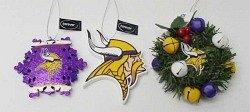Minnesota Vikings 3 Piece Christmas Ornament Box Set