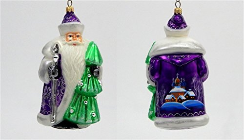 Joy to the World – Glitterazzi Purple Russsian Santa – Blown Glass Ornament