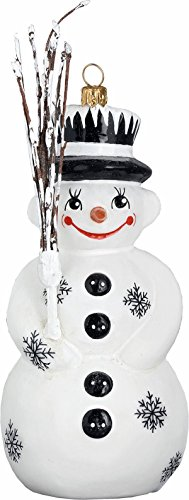 Joy to the World – Schaller Black Forest Snowman – Blown Glass Ornament