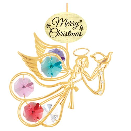 "24K Gold Plated Flying Angel w/ Dove with Logo ""Merry Christmas"" Ornament with Mixed Swarovski Crystal Element"