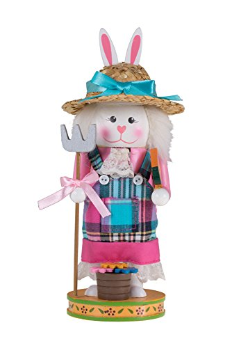 Unique Gardening Bunny Rabbit Nutcracker | Pitchfork and Flower Basket | Festive Christmas and Easter Decor | 9″ Tall Perfect for Shelves and Tables | Great Addition to Any Collection | 100% Wood