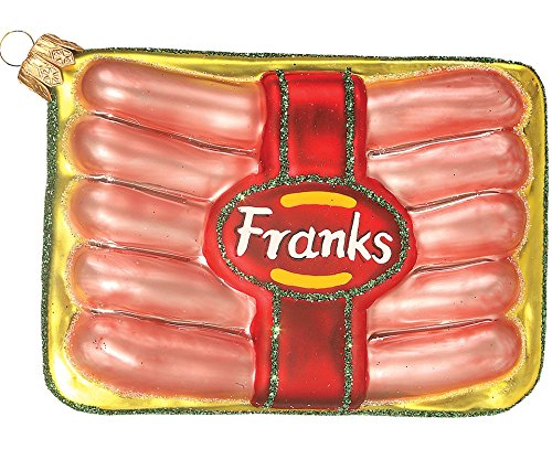 Package of Hot Dog Franks Polish Mouth Blown Glass Christmas Ornament Decoration
