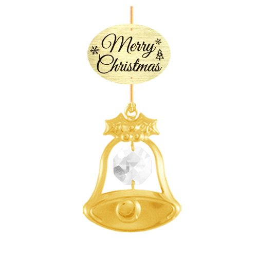 "24K Gold Plated Bell with Logo ""Merry Christmas"" Ornament with Clear Swarovski Crystal Element"