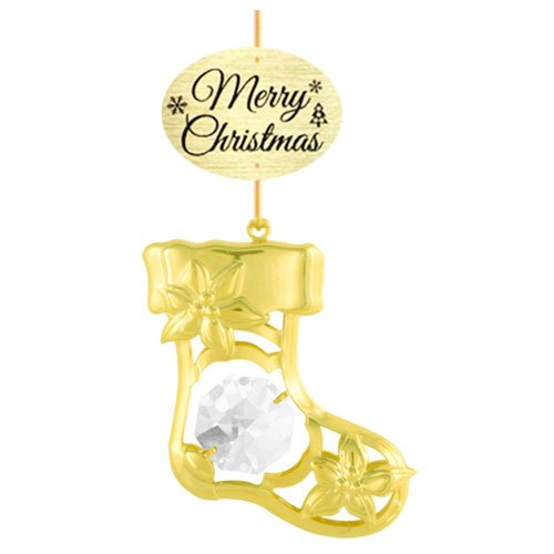 "24K Gold Plated Stocking with Logo ""Merry Christmas"" Ornament with Clear Swarovski Crystal Element"