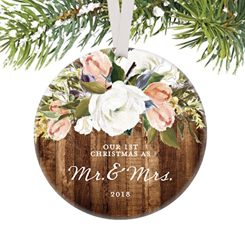 Rustic Newlyweds Christmas Ornament, 2018 First Christmas as Mr & Mrs Gift for Couple Wedding Day Beautiful Modern Farmhouse Floral Present 3″ Flat Circle Porcelain with White Ribbon & Free Gift Box