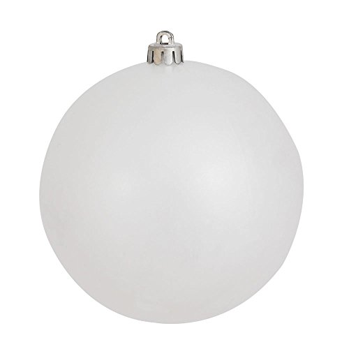 Vickerman Candy Finish Seamless Shatterproof Christmas Ball Ornament, UV Resistant with Drilled Cap, 4 per Bag, 6″, White