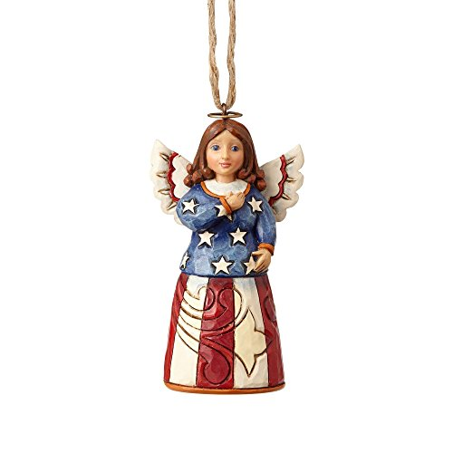 Enesco Jim Shore Heartwood Creek Mini Patriotic Angel Stone Resin Hanging Ornament, 3.5""