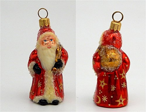 Joy to the World – Mini Schaller Nuremburg Santa – Blown Glass Ornament