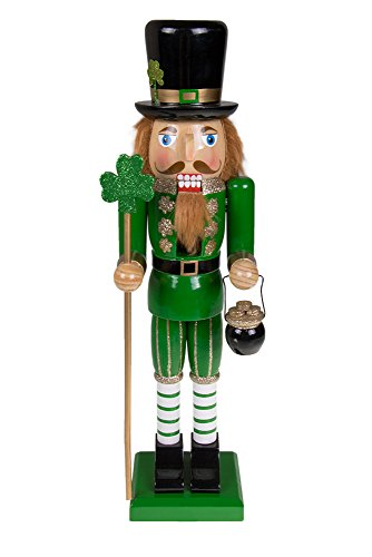 Traditional Irish Wooden Nutcracker Decoration by Clever Creations | Green, Black, Leprechaun with Pot of Gold & Scepter | Premium Festive Christmas Decor | 15″ Tall Perfect for Shelves & Tables