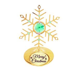 "24K Gold Plated Small Snowfake with Logo ""Merry Christmas"" Ornament with Green Swarovski Crystal Element"