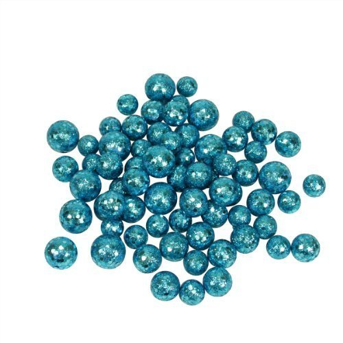 60ct Turquoise Blue Sequin and Glitter Christmas Ball Decorations 0.8″ – 1.25″
