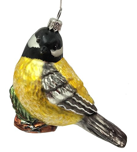 Chickadee Bird on Branch Polish Glass Christmas Tree Ornament Wildlife Animal