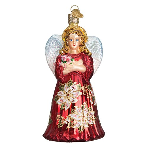 Old World Christmas Red Poinsettia Angel Glass Blown Ornament