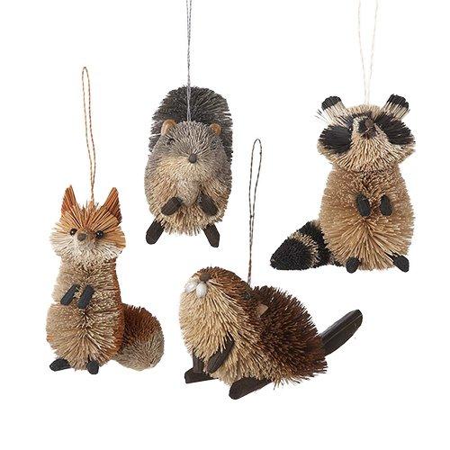 Kurt Adler 2.5″-6″ Buri Woodland Animal Ornaments, Set of 4
