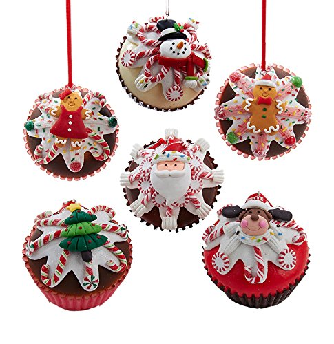 Kurt Adler 2.75-inch Claydough Foam Cupcake Ornaments, Set of 6