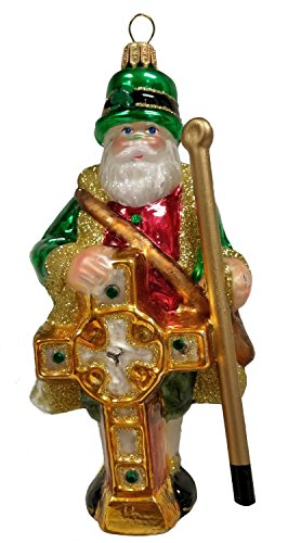 Irish Santa Claus with Celtic Cross Polish Glass Christmas Ornament Ireland