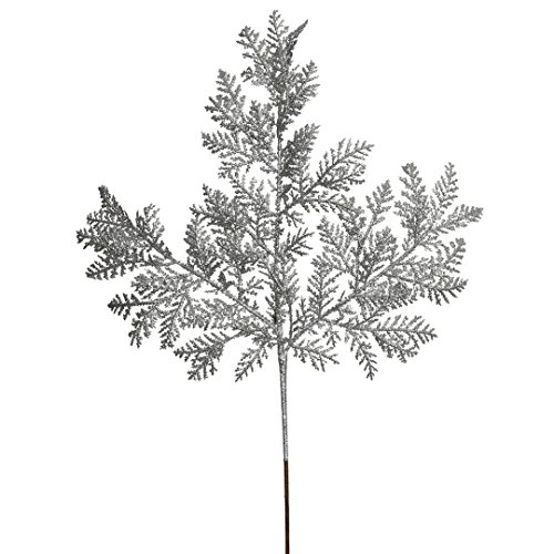 Vickerman Glittered Cypress Spray in 12/Bag, 22″, Silver