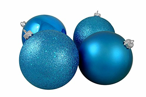 Vickerman 4ct Turquoise Blue Shatterproof 4-Finish Christmas Ball Ornaments 6″ (150mm)