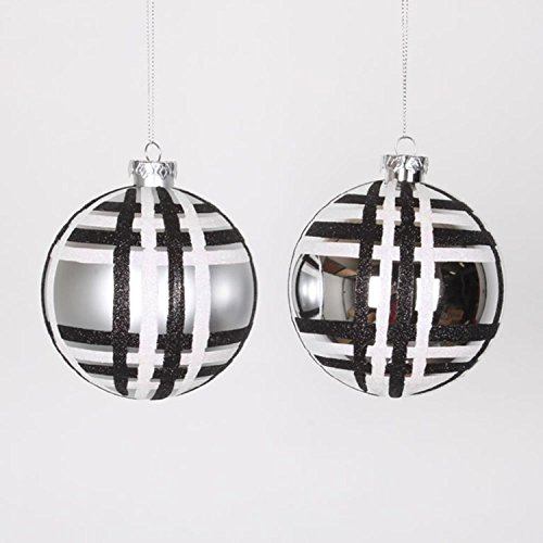 NorthLight 4 ct. Silver With Black & White Glitter Plaid Shatterproof Christmas Ball Ornaments – 4 in.