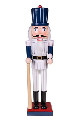 Baseball Player Nutcracker | Pinstripe Uniform, Baseball Bat and Baseball | Perfect for Any Collection | Festive Christmas Decor | Perfect for Shelves and Tables | 100% Wood | 15″ Tall