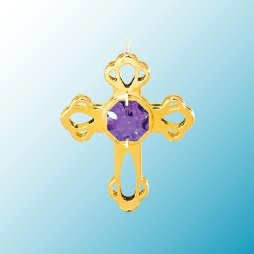 24k Gold Mini Cross Ornament – Purple Swarovski Crystal