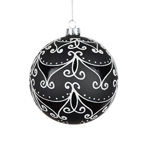 Vickerman 506974 – 4″ Black Matte/White Swirls Glass Ball Christmas Tree Ornament (E170901)
