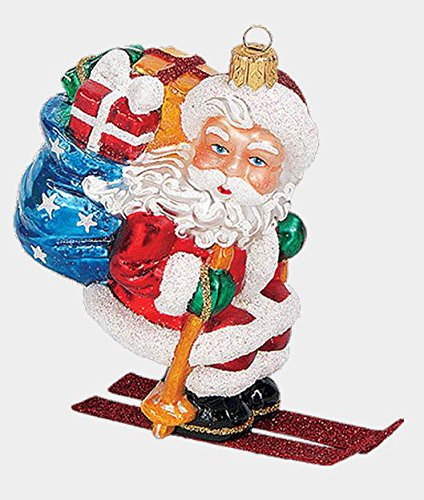 Skiing Santa with Gifts Polish Blown Glass Christmas Ornament Skier Decoration