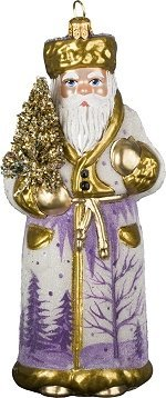 Joy to the World – Schaller Blasslila Santa – Blown Glass Ornament