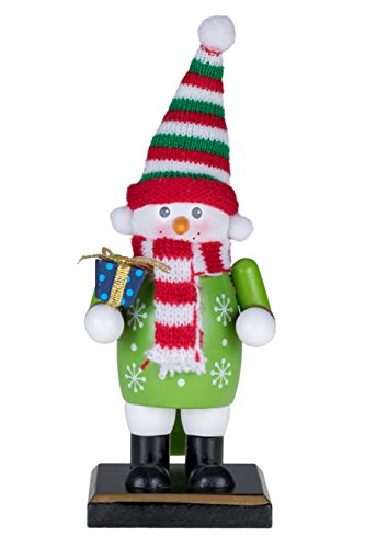 Traditional Christmas Snowman Nutcracker by Clever Creations | Holding Gift | 6″ Tall Perfect for Shelves and Tables | Wearing Green Snowflake Sweater | Red and White Scarf | 100% Wood