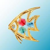 24K Gold Plated Fish Free Standing – Multicolored – Swarovski Crystal