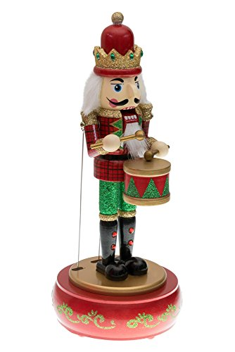 Drummer Nutcracker Music Box by Clever Creations | Mouth and Arms Move with Music | Wearing Red and Green Uniform | Festive Christmas Decor | Perfect for Any Collection | 100% Wood | 13″ Tall