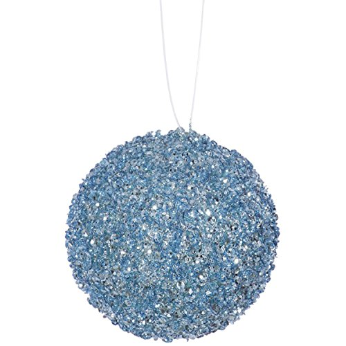 4ct Baby Blue Sequin and Glitter Drenched Christmas Ball Ornaments 4″ (100mm)