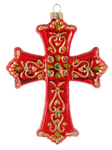 Christian Cross Red Glass Jeweled Christmas Ornament BUYERS' CHOICE (Green Peridot and Aquamarine Color Gems in Center (A))