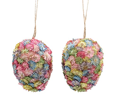 4.5 Flower Egg Ornament Set of 2