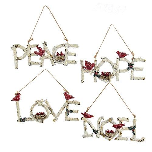Kurt Adler 6.25″ Birch Word Ornaments, Set of 4