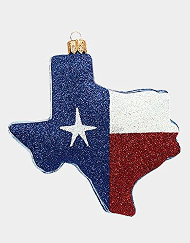 Texas State Flag Outline Polish Mouth Blown Glass Christmas Ornament