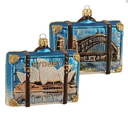 Sydney Australia Travel Suitcase Glass Christmas Ornament ONE Opera House Decor