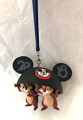 Walt Disney World 2018 Chip and Dale Mickey Mouse Ears Hat Christmas Ornament